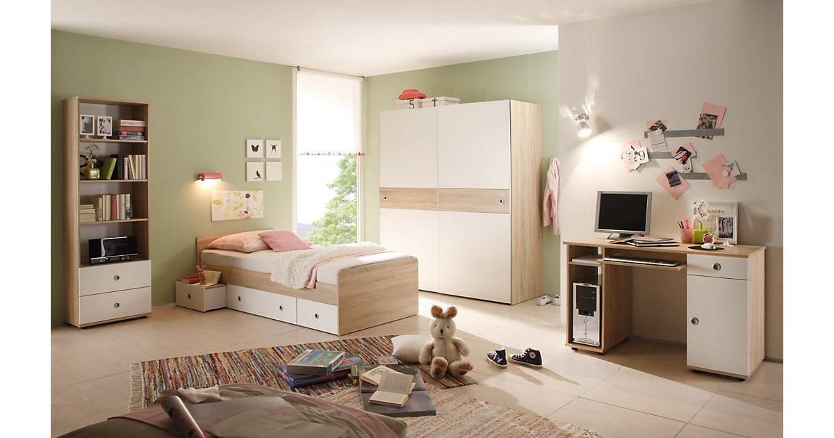Komplett Jugendzimmer Vicky, 4-tlg. (Einzelbett, Schwebetürenschrank, Schreibtisch, Standregal), Sonoma-Weiß braun Gr. 90 x 200
