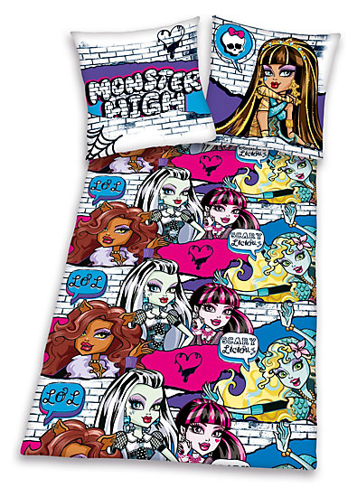 kinderbettw sche monster high flanell 135 x 200 cm herding mytoys. Black Bedroom Furniture Sets. Home Design Ideas