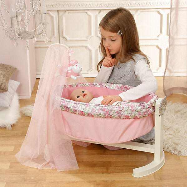 baby annabell puppenwiege mit nachtlicht puppenbett zapf creation mytoys. Black Bedroom Furniture Sets. Home Design Ideas