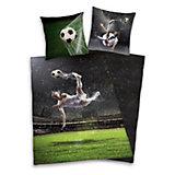 Wende- Kinderbettwäsche, Fußball, 135 x 200 cm, Renforcé