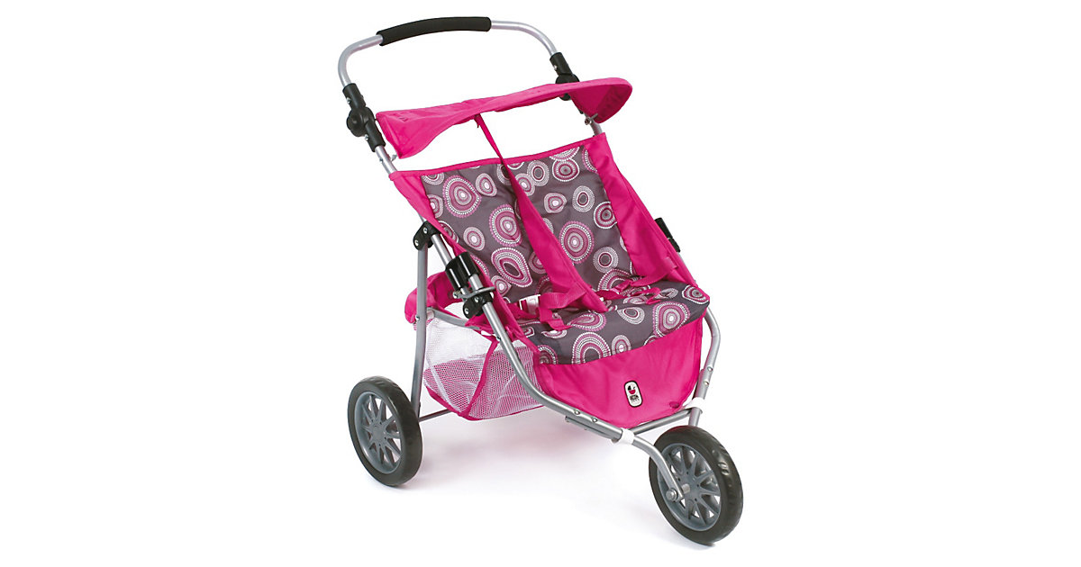 Zwillingspuppenwagen JOGGER Hot Pink Pearls