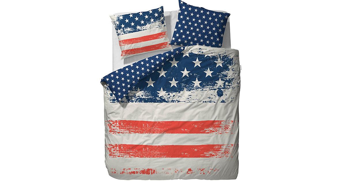 Wende- Bettwäsche USA, Renforcé, 135 x 200 cm mehrfarbig