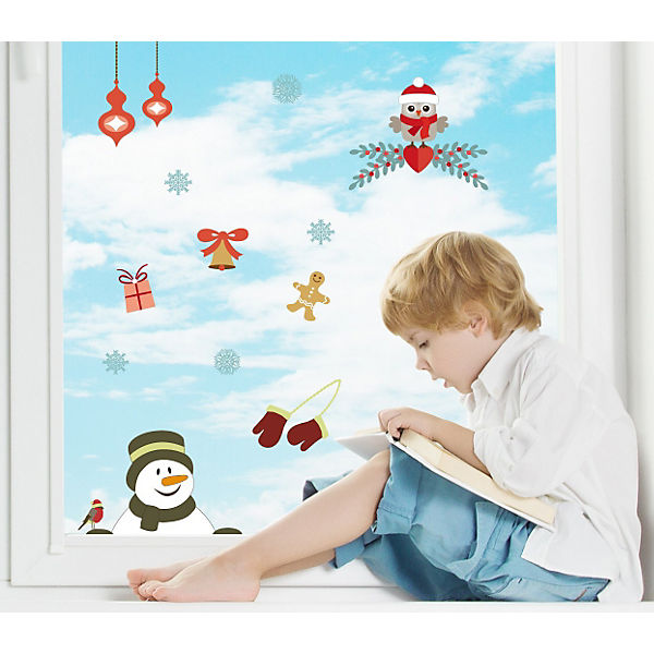 fenster sticker weihnachtsmotiv eule 13 tlg mytoys. Black Bedroom Furniture Sets. Home Design Ideas