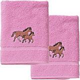 Handtuch 2er Set, je 50 x 100 cm, Pferd/Rosa