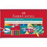 Aquarellfarbstifte, 35 Farben, inkl. Pinsel & Spitzer, Holz-Geschenkbox
