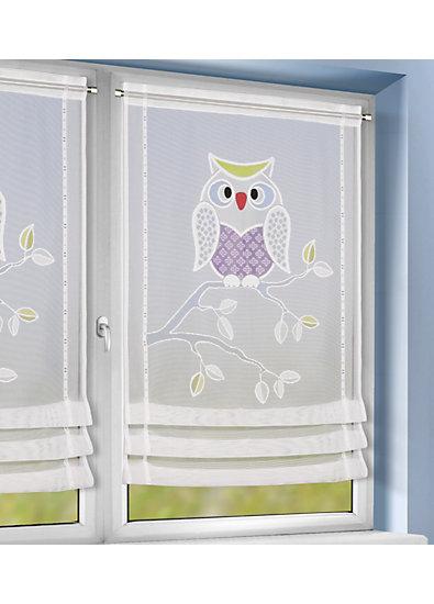 Vorhang Kinderzimmer Eule : Raffrollo kinderzimmer eule  Raffrollo Eule, 60 x 120 cm, wei