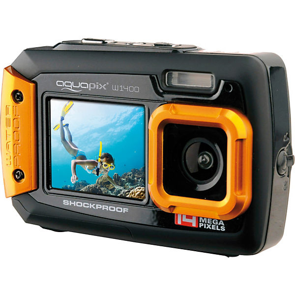 "Unterwasser Digitalkamera Aquapix W1400 ""Active"" - schwarz/orange"