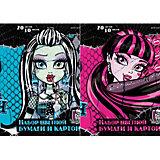 Бумага и картон цветные, 20 листов, 10 цветов, Monster High