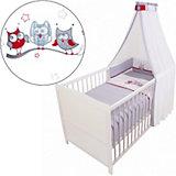 Kinderbett komplett, Kiefer weiß, teilmassiv, Eule, 70 x 140 cm