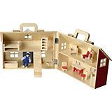 Puppenhaus inkl. Möbel und 2 Puppen