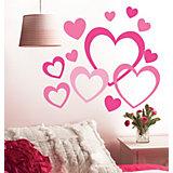 Wandsticker Herzen, 12-tlg. rosa