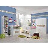 Komplett Kinderzimmer LILLY, 6-tlg. (Kleiderschrank 3-trg., Kinderbett, Umbauseiten, Wickelkommode, Unterschrank, Standregal), Alpinweiß/San Remo Eiche