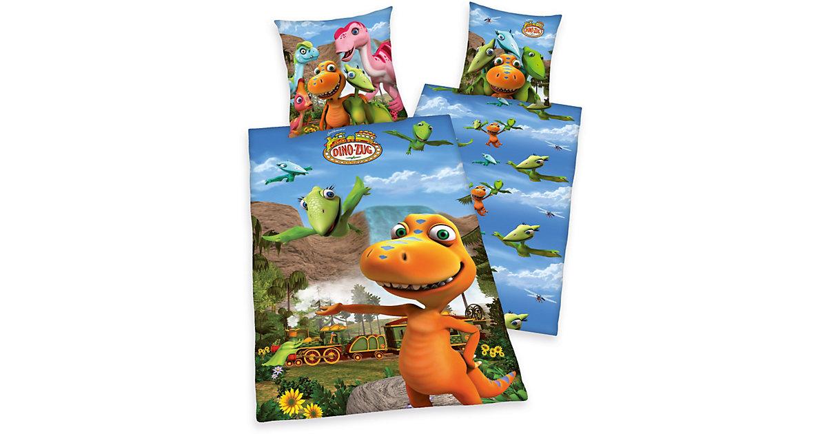 Wende- Kinderbettwäsche Dino-Zug, Renforcé, 135 x 200 cm mehrfarbig