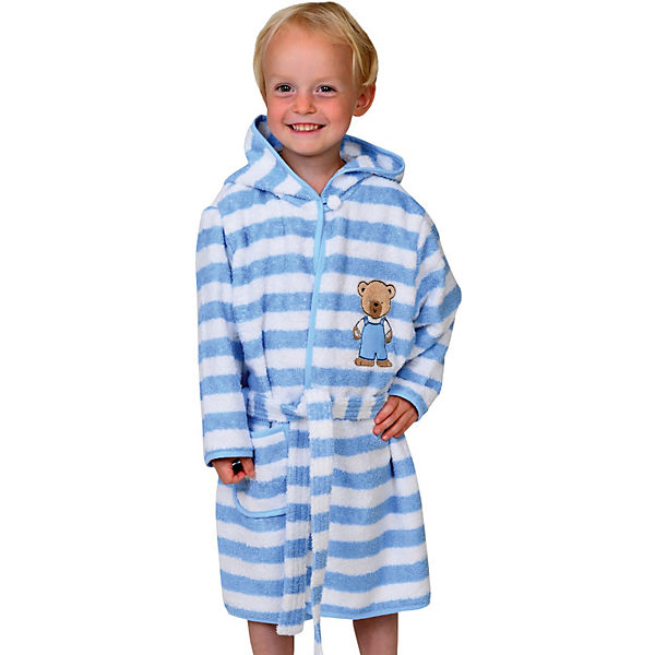 Kinder Bademantel Teddy Ringel hellblau