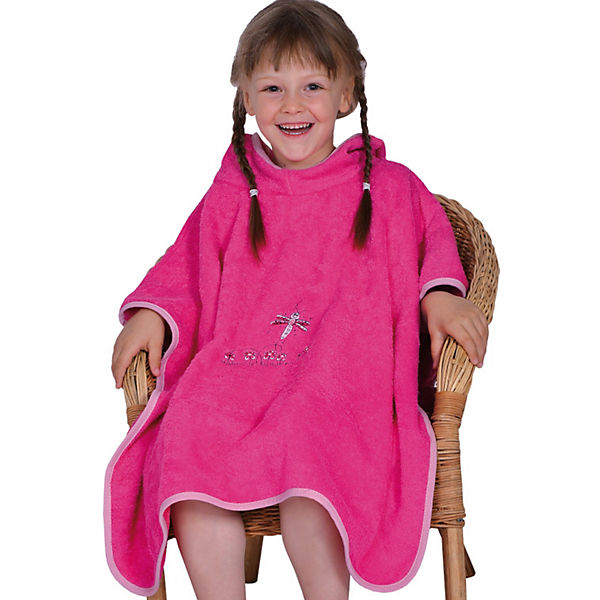 Badeponcho Schmetterling pink Bade-Poncho, 75 x 60 cm