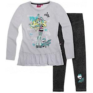 Комплект: футболка с длинным рукавом и леггинсы для девочки Monster High - серый
