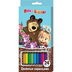 Цветные карандаши (24 цвета, шестигранные), Маша и Медведь