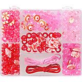 Perlenbox Rot/Pink, inkl. Stretchgummi
