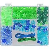 Perlenbox Blau/Grün, inkl. Stretchgummi