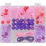 Perlenbox Lila/Pink, inkl. Stretchgummi