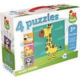 Playlab - 4in1 Puzzle - Wilde Tiere - 4/6/9/16 Teile