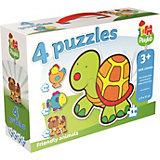 Playlab - 4in1 Konturenpuzzle - Haustiere - 2/3/4/5 Teile
