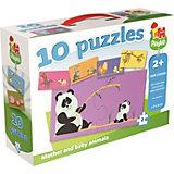 Playlab - 10in1 Puzzle - Tiermütter & -kinder - 10x2 Teile
