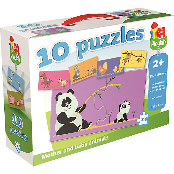 Playlab - 10in1 Puzzle - Tiermütter & -kinder - 10x2 Teile