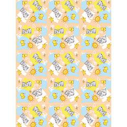 """Плед флисовый """"Котята и цыплята"""" 100х140 см, Baby Nice, бежевый"""