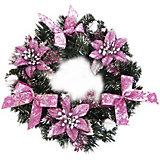 Венок рождественский ,30 см, розовые украшения