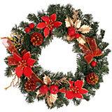 Венок рождественский, 35 см, красные украшения