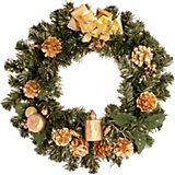 Венок рождественский, 36 см, золотые украшения
