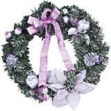 Венок рождественский, 40 см, розовые украшения
