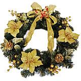 Венок рождественский, 40 см, золотые украшения