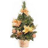 Ель декорированная, 25 см, золотые украшения