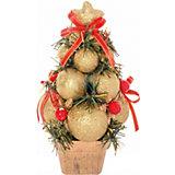 Ель декорированная из шаров, золотые, красные украшения