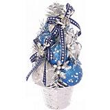 Ель декорированная из шаров, серебряные, синие украшения