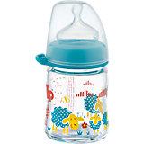Weithals Flasche, Glas, 120 ml, Silikonsauger Gr. M, blau