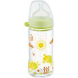 Weithals Flasche, Glas, 240 ml, Silikonsauger Gr. M, grün