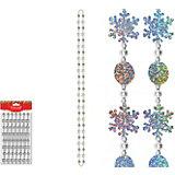 Бусы декоративные пластиковые со снежинками, 2,7 м