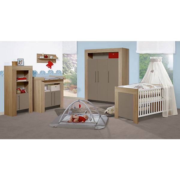 sparset opal kinderbett wickelkommode schmal schlamm sonoma eiche roba mytoys. Black Bedroom Furniture Sets. Home Design Ideas