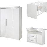 Komplett Kinderzimmer MAREN, 3-tlg. (Kinderbett, Wickelkommode breit und 3-türiger Kleiderschrank), Weiß