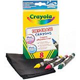 Легко стираемые восковые мелки, 8 штук, Crayola