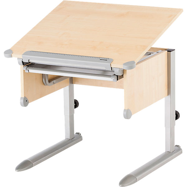 Schreibtisch little h henverstellbar ahorn silberfarbig for Schreibtisch ahorn