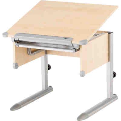 Schreibtisch lena h henverstellbar fichte massiv wei for Schreibtisch ahorn massiv