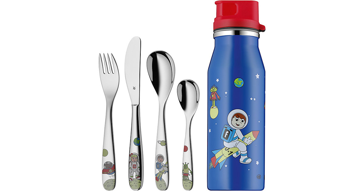 Kinderbesteck mit Trinkflasche Willy Mia Fred Space, 5-tlg.