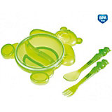 Тарелка с ложкой и вилкой, Canpol Babies, зеленый