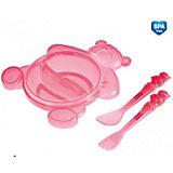 Тарелка с ложкой и вилкой, Canpol Babies, розовый