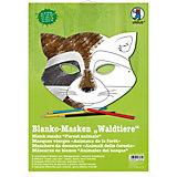 Kreativset Blanko-Masken Waldtiere, 6 Stück