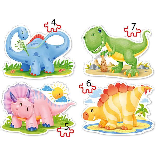"""Пазлы """"Динозаврики"""", 4*5*6*7 деталей, Castorland"""